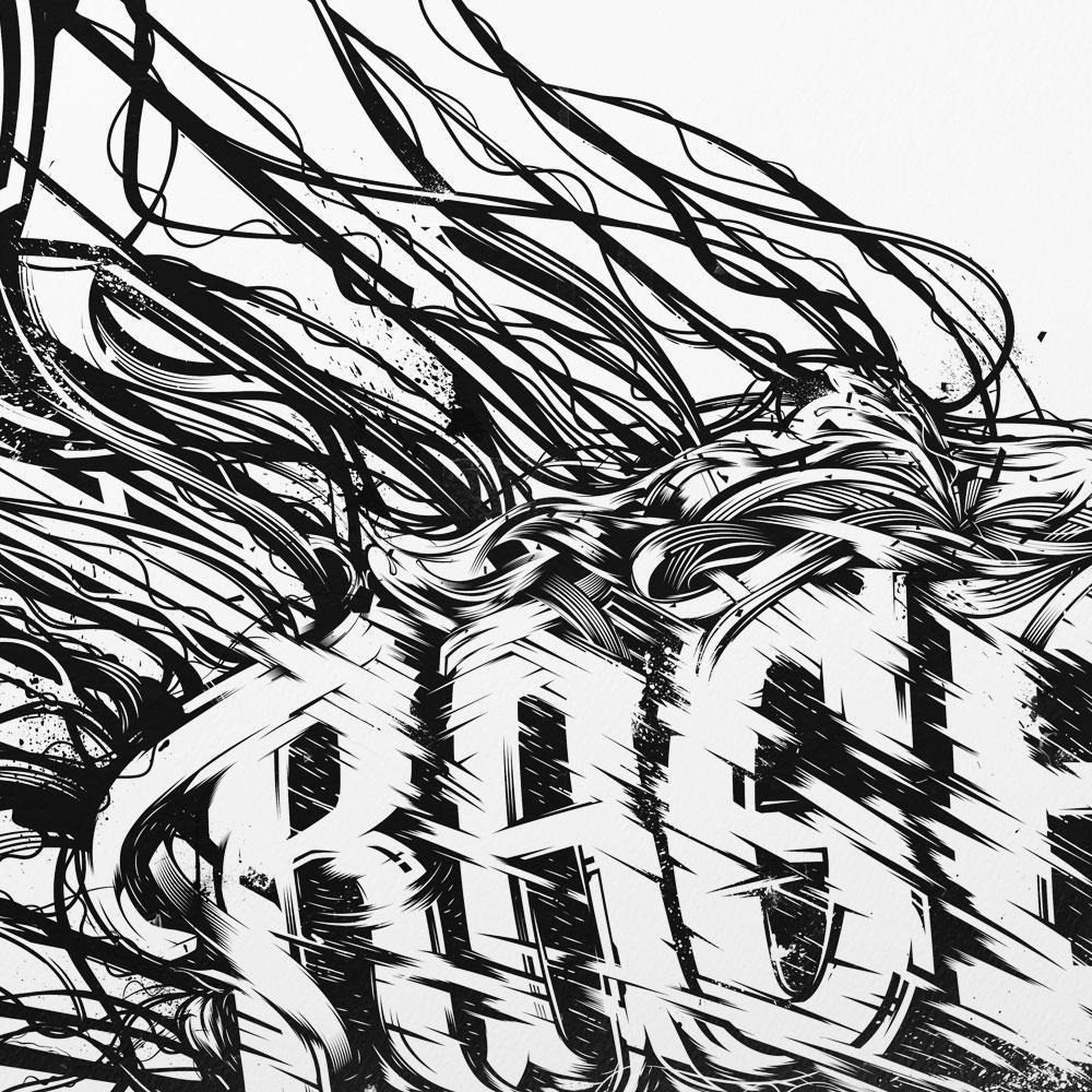 Typographic illustration, expressive lettering